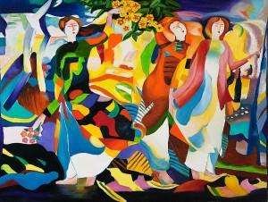 Thiếu nữ vườn xuân. Tranh sơn dầu trên bố 90cm x 120cm by Nguyễn Sơn