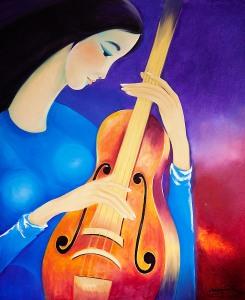 Thủa yêu đàn. Tranh sơn dầu trên bố 90cm x 110cm by Nguyễn Sơn