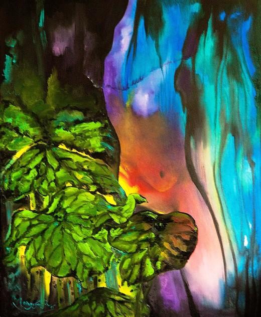 Tắm đêm. Tranh sơn dầu 90cm x 110cm by Nguyễn Sơn